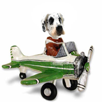Great Dane Harelquin Uncropped Airplane Doogie Collectable Figurine