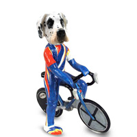 Great Dane Harelquin Uncropped Bicycle Doogie Collectable Figurine