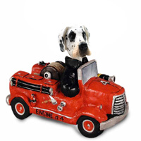 Great Dane Harelquin Uncropped Fire Engine Doogie Collectable Figurine