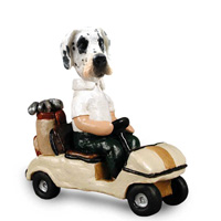 Great Dane Harelquin Uncropped Golf Cart Doogie Collectable Figurine