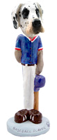 Great Dane Harelquin Uncropped Baseball Doogie Collectable Figurine