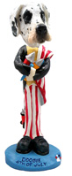 Great Dane Harelquin Uncropped 4th of July Doogie Collectable Figurine