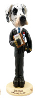 Great Dane Harelquin Uncropped Airline Pilot Doogie Collectable Figurine