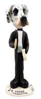 Great Dane Harelquin Uncropped Conductor Doogie Collectable Figurine