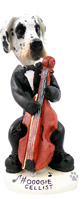 Great Dane Harelquin Uncropped Cellist Doogie Collectable Figurine