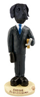 Great Dane Black w/Uncropped Ears Businessman Doogie Collectable Figurine