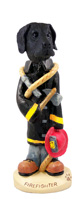 Great Dane Black w/Uncropped Ears Fireman Doogie Collectable Figurine