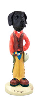 Great Dane Black w/Uncropped Ears Cowboy Doogie Collectable Figurine
