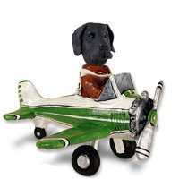Great Dane Black w/Uncropped Ears Airplane Doogie Collectable Figurine