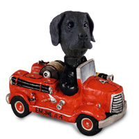 Great Dane Black w/Uncropped Ears Fire Engine Doogie Collectable Figurine