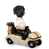 Great Dane Black w/Uncropped Ears Golf Cart Doogie Collectable Figurine