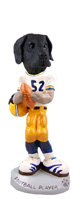Great Dane Black w/Uncropped Ears Football Player Doogie Collectable Figurine