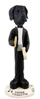 Great Dane Black w/Uncropped Ears Conductor Doogie Collectable Figurine