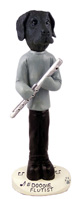 Great Dane Black w/Uncropped Ears Flutist Doogie Collectable Figurine