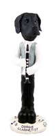 Great Dane Black w/Uncropped Ears Clarinetist Doogie Collectable Figurine