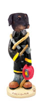 Doberman Pinscher Black Uncropped Fireman Doogie Collectable Figurine