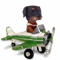 Doberman Pinscher Black Uncropped Airplane Doogie Collectable Figurine