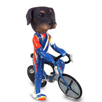 Doberman Pinscher Black Uncropped Bicycle Doogie Collectable Figurine