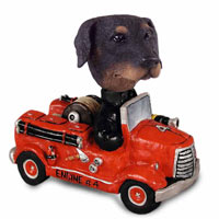 Doberman Pinscher Black Uncropped Fire Engine Doogie Collectable Figurine