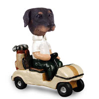 Doberman Pinscher Black Uncropped Golf Cart Doogie Collectable Figurine