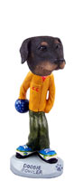 Doberman Pinscher Black Uncropped Bowler Doogie Collectable Figurine