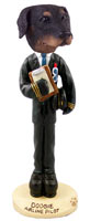 Doberman Pinscher Black Uncropped Airline Pilot Doogie Collectable Figurine