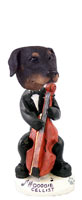 Doberman Pinscher Black Uncropped Cellist Doogie Collectable Figurine