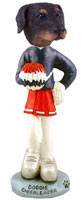 Doberman Pinscher Black Uncropped Cheerleader Doogie Collectable Figurine