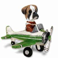 Boxer Uncropped Airplane Doogie Collectable Figurine