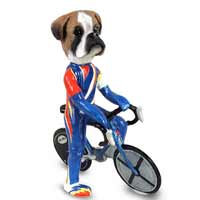 Boxer Uncropped Bicycle Doogie Collectable Figurine