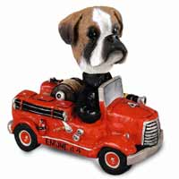 Boxer Uncropped Fire Engine Doogie Collectable Figurine
