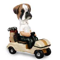 Boxer Uncropped Golf Cart Doogie Collectable Figurine