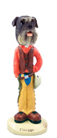 Schnauzer Gray w/Uncropped Ears Cowboy Doogie Collectable Figurine