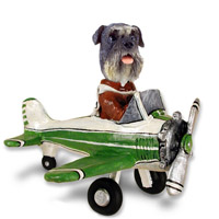 Schnauzer Gray w/Uncropped Ears Airplane Doogie Collectable Figurine