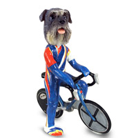 Schnauzer Gray w/Uncropped Ears Bicycle Doogie Collectable Figurine