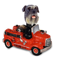 Schnauzer Gray w/Uncropped Ears Fire Engine Doogie Collectable Figurine