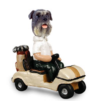 Schnauzer Gray w/Uncropped Ears Golf Cart Doogie Collectable Figurine