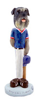 Schnauzer Gray w/Uncropped Ears Baseball Doogie Collectable Figurine