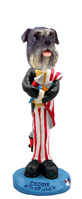 Schnauzer Gray w/Uncropped Ears 4th of July Doogie Collectable Figurine