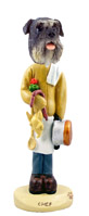 Schnauzer Gray w/Uncropped Ears Chef Doogie Collectable Figurine