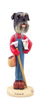 Schnauzer Gray w/Uncropped Ears Farmer Doogie Collectable Figurine