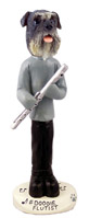 Schnauzer Gray w/Uncropped Ears Flutist Doogie Collectable Figurine