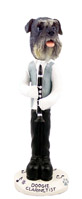 Schnauzer Gray w/Uncropped Ears Clarinetist Doogie Collectable Figurine