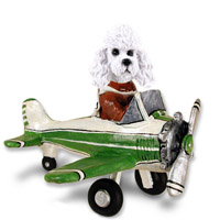Poodle White w/Sport Cut Airplane Doogie Collectable Figurine