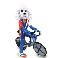 Poodle White w/Sport Cut Bicycle Doogie Collectable Figurine