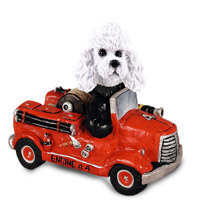 Poodle White w/Sport Cut Fire Engine Doogie Collectable Figurine