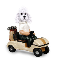 Poodle White w/Sport Cut Golf Cart Doogie Collectable Figurine
