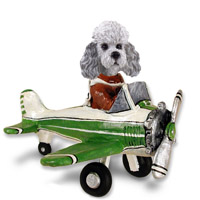 Poodle Gray w/Sport Cut Airplane Doogie Collectable Figurine