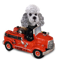 Poodle Gray w/Sport Cut Fire Engine Doogie Collectable Figurine