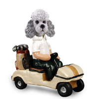 Poodle Gray w/Sport Cut Golf Cart Doogie Collectable Figurine